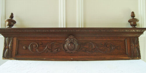 SUPERB CARVED WOODEN PEDIMENT FOR FIREPLACE KITCHEN ARCHITECTURAL SALVAGE FRENCH