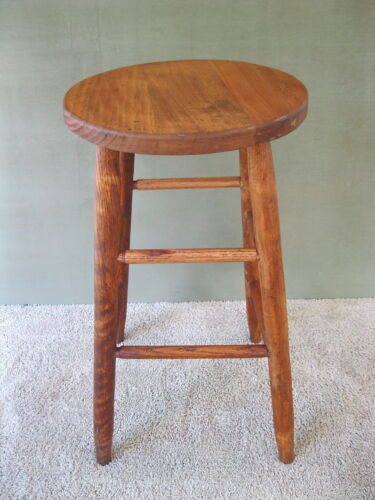 "Antique Stool Vintage Primitive Oak Wood 24"" Tall Round 13"" Seat 4-Leg Stand"