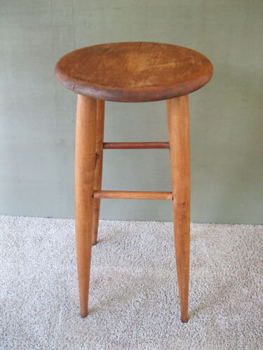 "Antique Stool Vintage Primitive Oak Wood 23"" Tall Round 11"" Seat 4-Leg Stand"