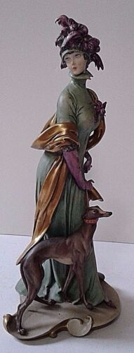 GIUSEPPE CAPPE FIGURINE LADY WITH HOUND DOG WORKS OF ART ITALY 10 1/4 INCHES
