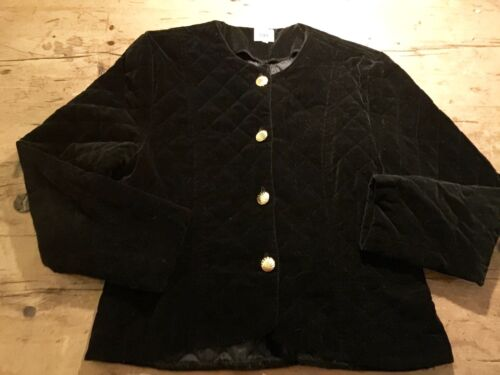 "VINTAGE 1980'S BLACK VELVET QUILTED SHORT CROPPED JACKET UK 14 / 38"" B"