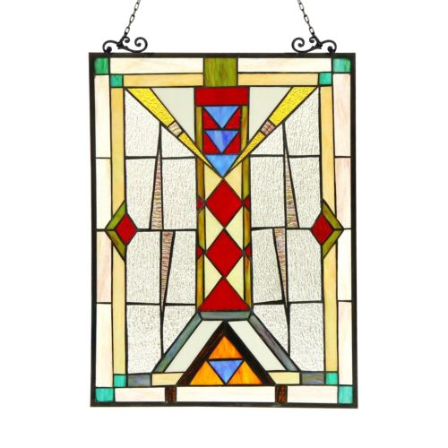 LAST ONE THIS PRICE Stained Glass Tiffany Style Window Panel Modern Mission