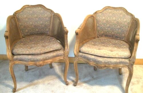 PAIR OF MID CENTURY CARVED+PAINTED LOUIS XV CANED ARMCHAIRS