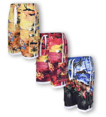Mens Hawaiian Shorts Hawaii Swimming Shorts Summer Beach Tree Print