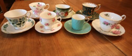 Lot of 7 vintage tea cups and saucers