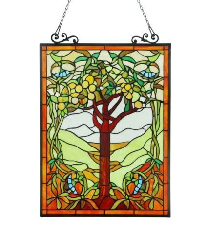 """Tree of Life Tiffany Style Stained Glass Window Panel 18"""" W x 25"""" T Handcrafted"""