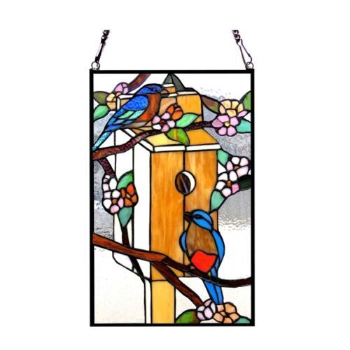 """Floral Bird House & Birds Tiffany Style Stained Glass 12"""" x 19"""" Window Panel"""