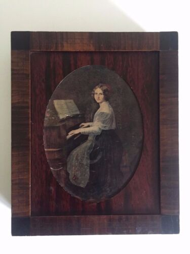 ANTIQUE 1800'S HANDMADE WOOD PIANIST PORTRAIT CLASSICAL FRAMED LETTER BOX
