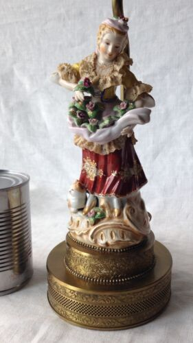 """Figural Lamp Vintage Porcelain Woman With Cat Collecting Flowers Lace 14"""", Works"""