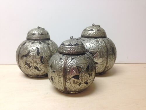 Set of three (3) Antique Indian lidded containers wooden/ hammered repousse alum