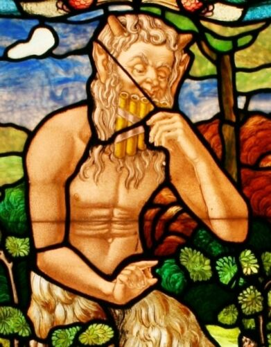 French Satyr/Pan/Faun/ Mythological/ Fantasy Stained Glass Window w/ Light Box