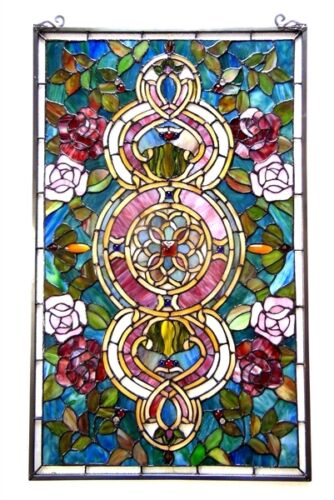 """Window Panel Floral  Medallion Design 20"""" W X 32"""" L Tiffany Style Stained Glass"""