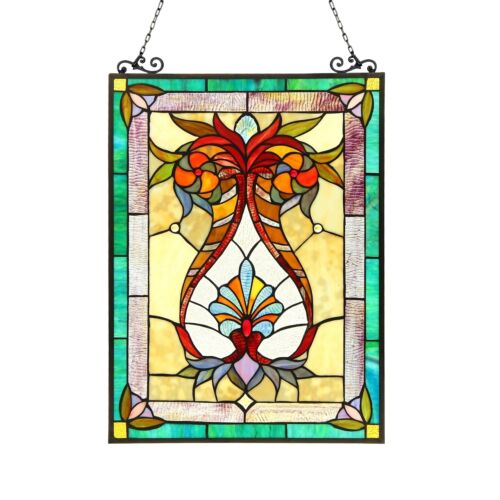 """Handcrafted Tiffany Style Stained Glass Window Panel 17.5"""" X 25"""" 179 PC Glass"""