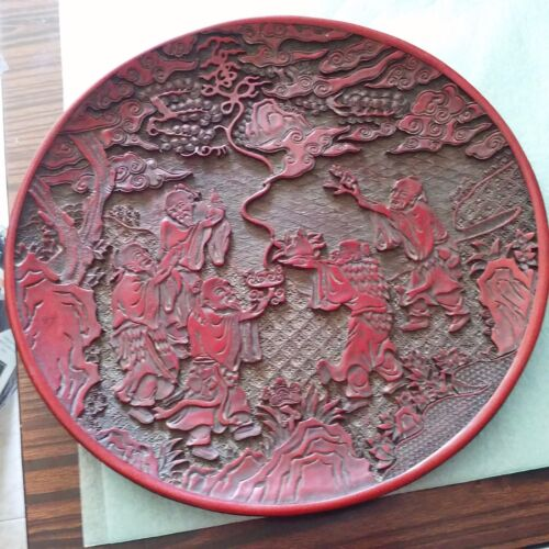 China Five old birthday of carved lacquerware plate by Qianlong乾隆年五老祝寿的漆雕大盘