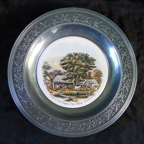 "Currier & Ives Autumn in New England Cider Making 10.5"" Pewter Plate Canton Ohio"