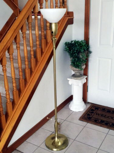 ANTIQUE MUTUAL SUNSET LAMP CO BRUSHED BRASS FLOOR LAMP