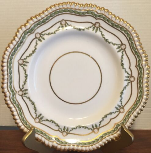 "Antique 1890s Copelands China 10 1/2"" Plate Gilman Collamore Gilt Feathers Rim"