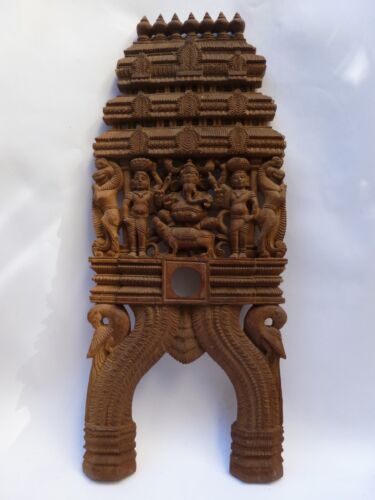 Goddess Lakshmi South Indian Temple Wood Carving Wall Hanging Sculpture