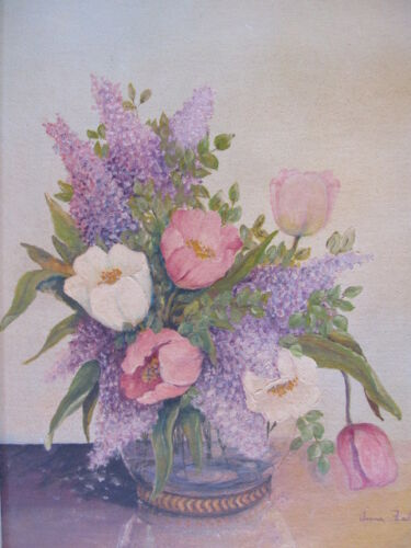 OLD SIGNED FLORAL OIL PAINTING ANNA FIALA TULIPS SHABBY FRAMED VASE OF FLOWERS