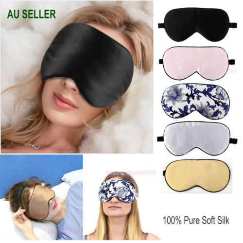 100% Pure Silk Sleeping Sleep Soft Eye Mask Blindfold Lights Out Travel Relax <br/> Au Stock Exllent Quality 1Day Dispatch Fast Delivery
