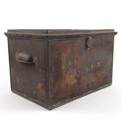 Antique Metal Cake Box Handles Rusted Tin Steel Rusted Primitive Rustic Storage