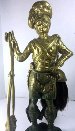 "Antique Brass Highlander Figurine Coal Stove Tool Set Holder UK - 12"" Tall"