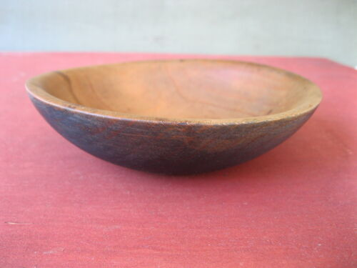"Vintage Bowl Primitive Country Blue Paint Small 6-1/2"" Round Wood, Butter Fruit"