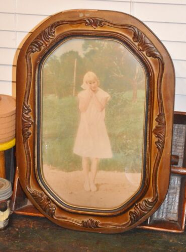 Antique Convex Bubble Art Glass Gesso Leaf Wood Frame Girl in White Dress Photo