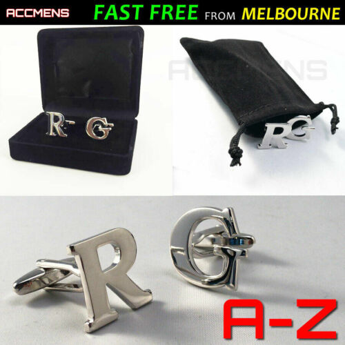 Letters Cufflinks Stainless Gift Box Free Pouch 1pr DIY Silver Initials Wedding