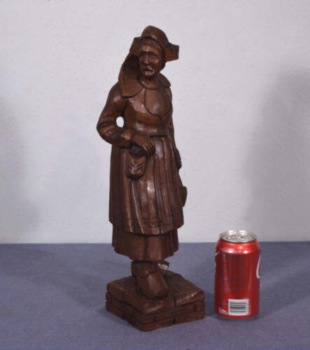 *Antique Carved Wood Figure of a Woman in Chestnut Dutch or French Peasant