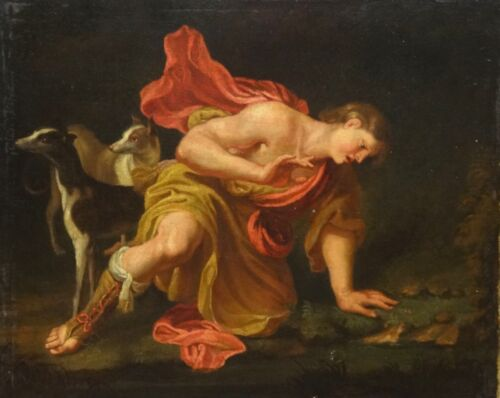 18th Century French Classical Old Master Narcissus & Hounds Antique Oil Painting