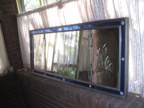 """Antique Large Mirror Clear & Etched Blue Glass Sofa Mirror 59"""" x 25"""""""