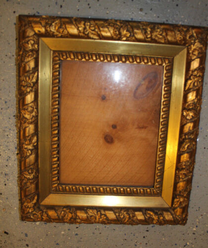 VERY NICE ANTIQUE ORNATE WOOD GESSO PICTURE FRAME WITH WOODEN BACK
