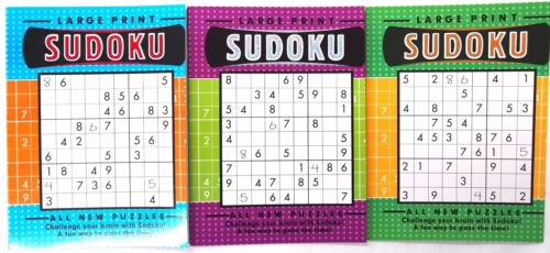 3 x A4 LARGE PRINT SUDOKU PUZZLE BOOKS - FUN TRAVEL SOLVE GAMES CHALLENGE MIND