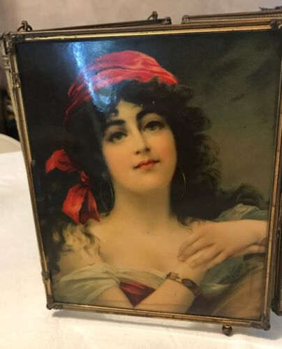 Victorian Trifold Vanity Table Mirror w Celluloid Beauties ***