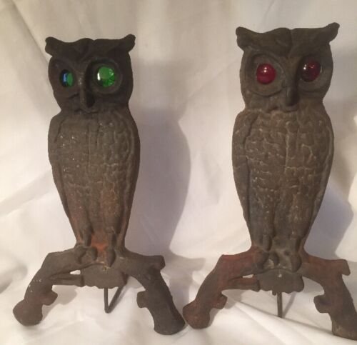 Vintage Pair of Brass Owl with Glass Eyes Andirons
