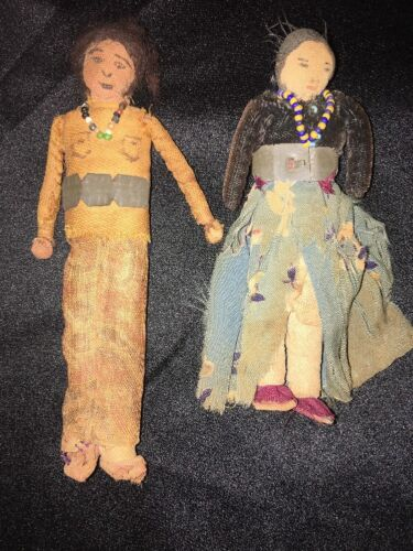 Antique NAVAJO Indian Cloth DOLLS Boy Girl Handmade Early Est. 1860s