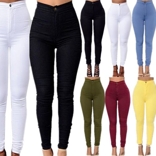 Women Skinny High Waist Jeans New Stretchy Pencil Pants Trousers Denim Leggings