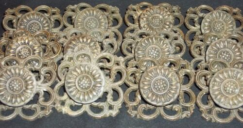 12 PC MATCHING SET VINTAGE CUPBOARD DRAWER PULL KNOB WITH BACK PLATES ANTIQUE