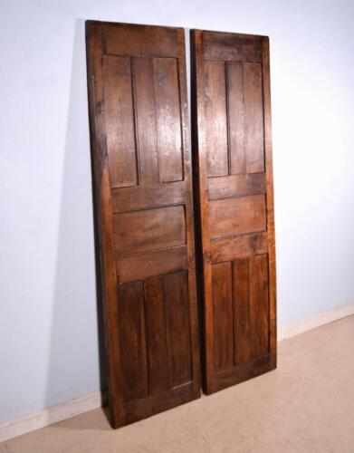 Pair of Antique French 6' Solid Oak Panels Wood Doors