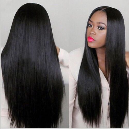 "24"" Natural Long Straight Natural Black Heat resistant Synthetic Lace Front Wig"