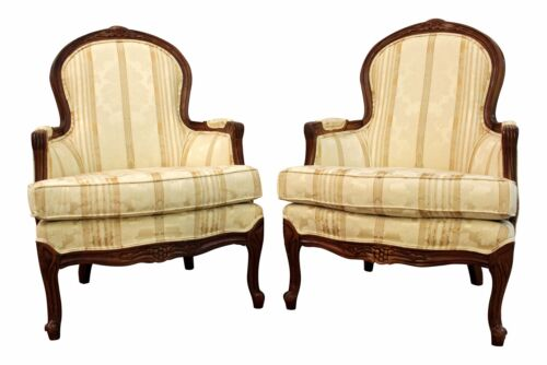Pair of French Country Vintage Ladies Arm/Bergere Accent Chairs