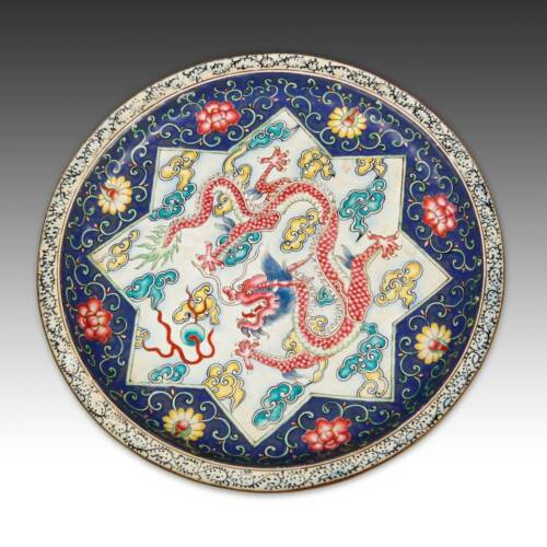 CHINESE QING DYNASTY ENAMELED COPPER PLATE WITH FIVE CLAW DRAGON CHINA 19TH C.