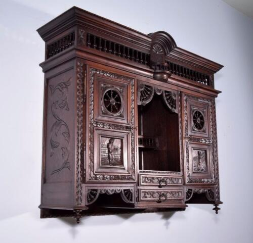 *Antique French Breton/Brittany Wall Cabinet in Highly Carved Solid Chestnut