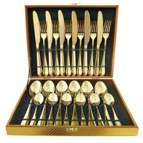 24PC GLAMOUR STAINLESS STEEL CUTLERY SET IN GOLD KITCHEN SERIES