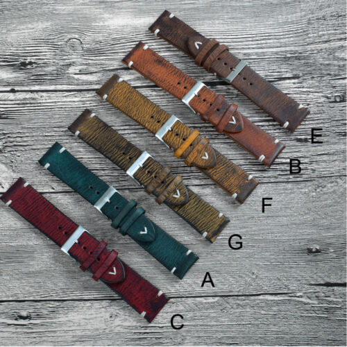 18-20-22-24mm Retro Style Genuine Leather Mens Watch Strap Band Replace Bracelet