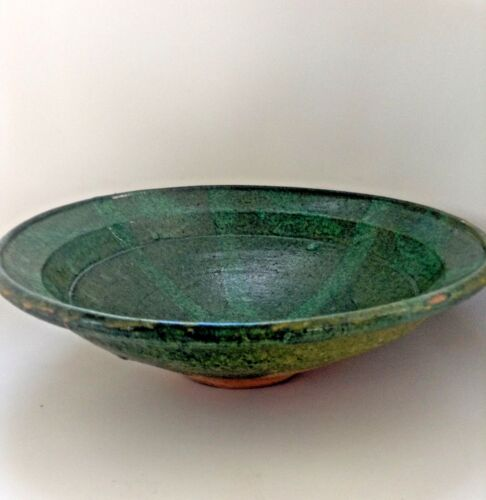 Antique Chinese Liao Dynasty Green Glazed Red Clay Bowl