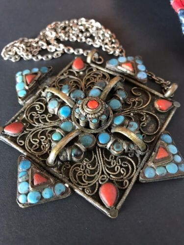 Old Tibetan Silver Medallion Neck piece …beautiful accent / collection piece