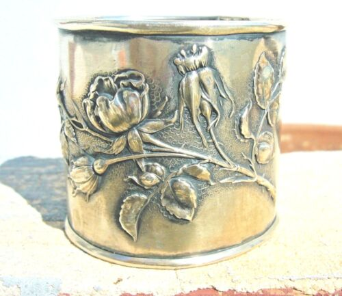 ANTIQUE GERMAN SILVER 900 NAPKIN RING LUTZ & WEISS RUSSIAN IMPORT MARK 1911 RARE