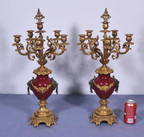 "*XL 25"" Tall Pair of French Brass/Bronze Candelabra Candlesticks w/Lions"